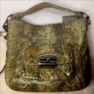 COACH KRISTEN BROWN TAN EMBOSSED PYTHON LEATHER